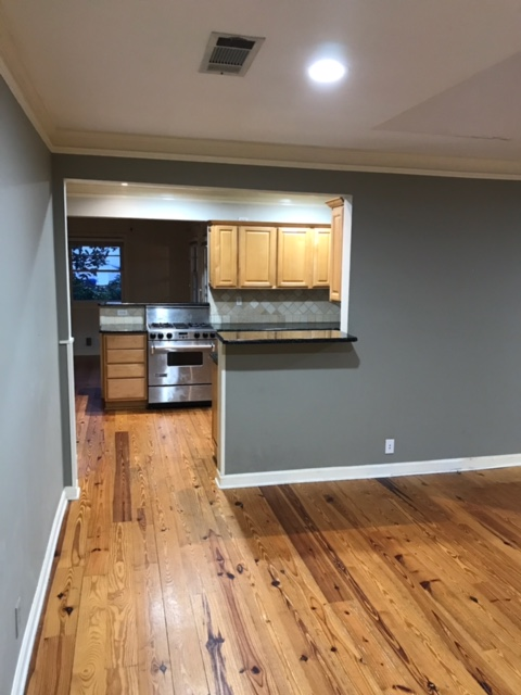 view into kitchen with small serving counter