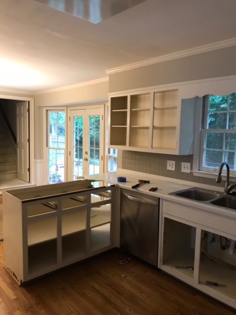 kitchen that is being renovated. cabinets are being constructed. no countertops installed.