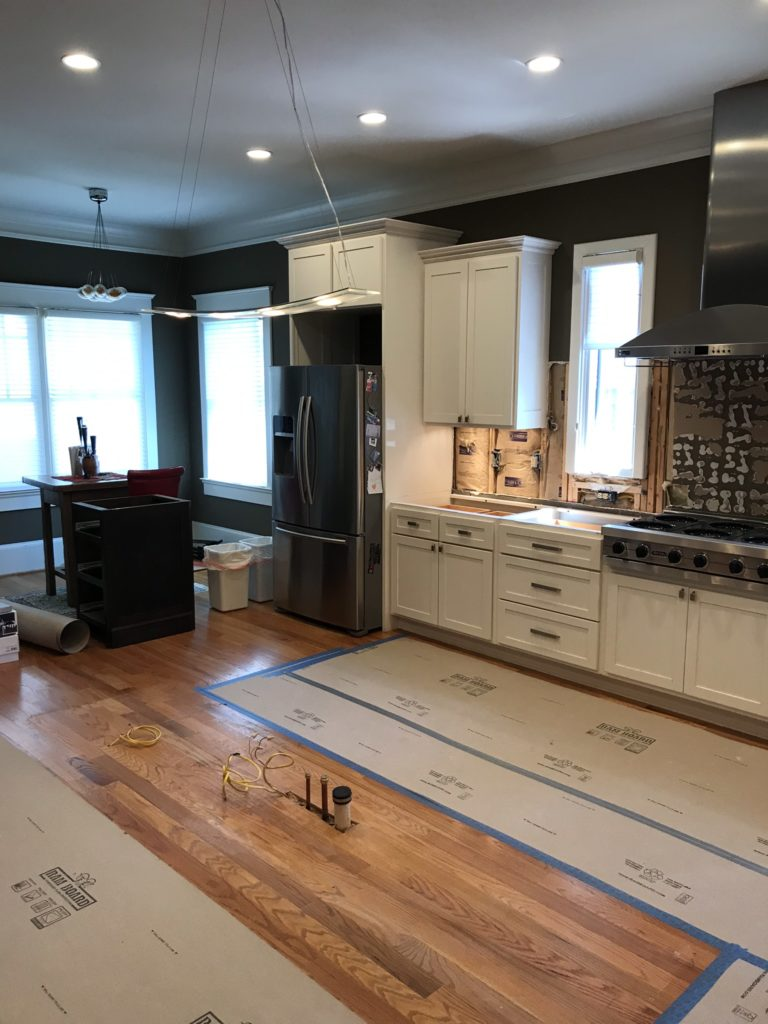 in progress kitchen renovation. kitchen island has been removed.